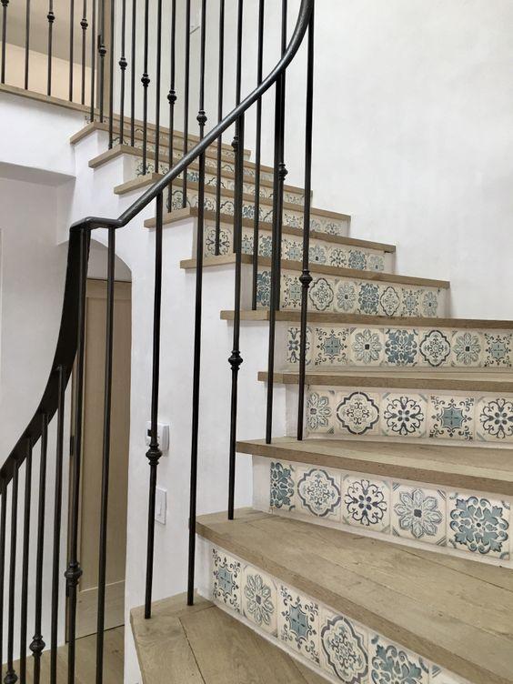 contre marche d'escalier décoré